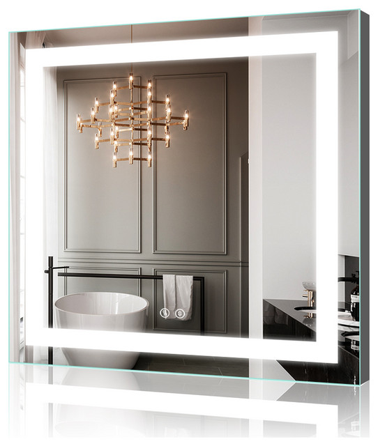"36""x36"" LED Backlit Mirror Illuminated Bathroom Mirror With Dimmable & Defogger"