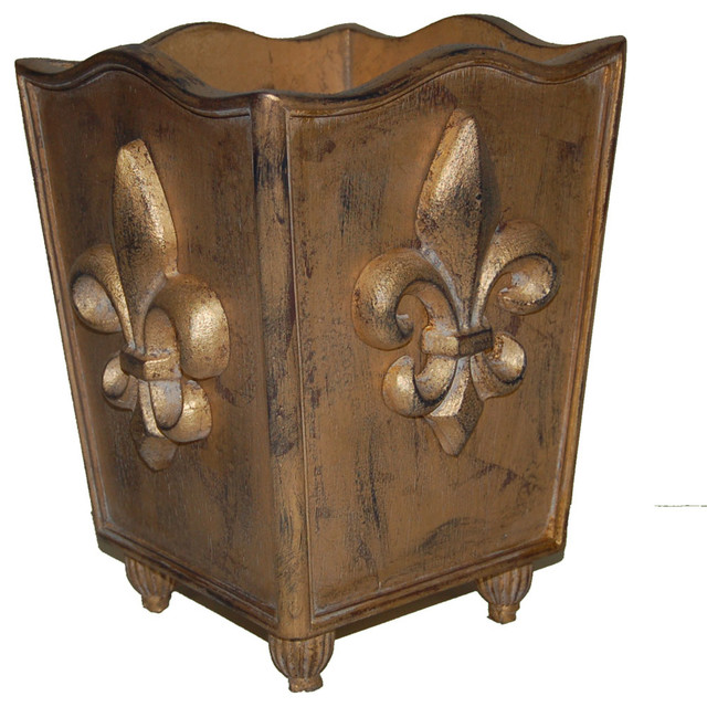 Fleur De Lis Trash Can Traditional Wastebaskets By Hickory