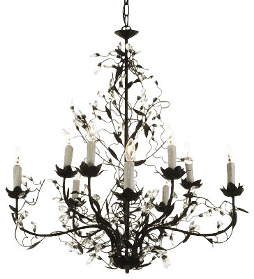 Wrought Iron Crystal Chandelier 10 Lights