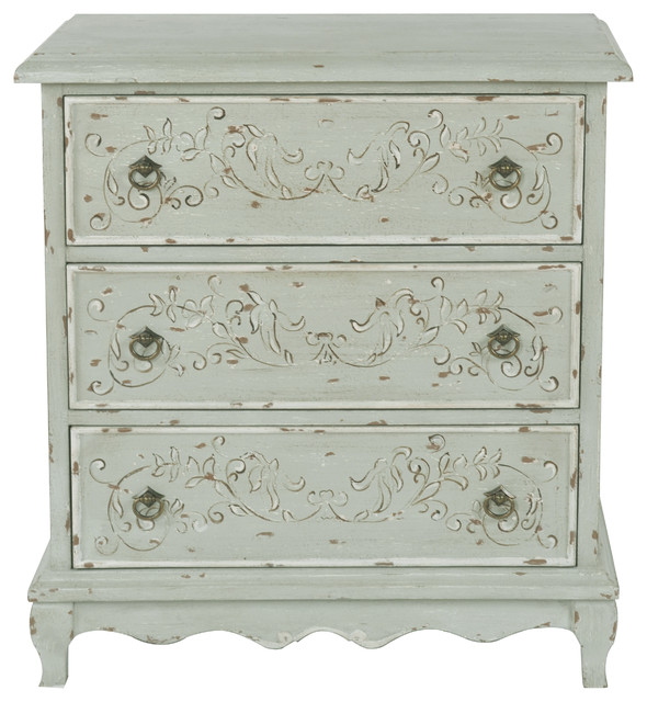 Hand Painted 3 Drawer Accent Chest Weathered Sage Green