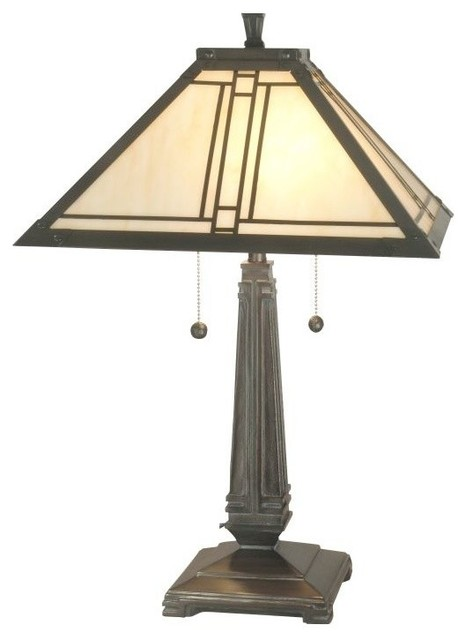 Dale Tiffany Tt70735 2 Lined Mission Table Lamp With Art Glass Shade.