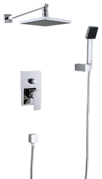 "Rome Chrome Finish Rainfall Showerhead With Handheld Shower, 8""."