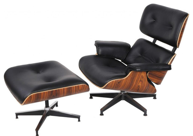 2 Piece Mid Century Plywood Lounge Chair And Ottoman Set