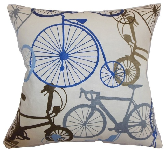 Echuca Bicycles Pillow Blue Brown Contemporary Scatter