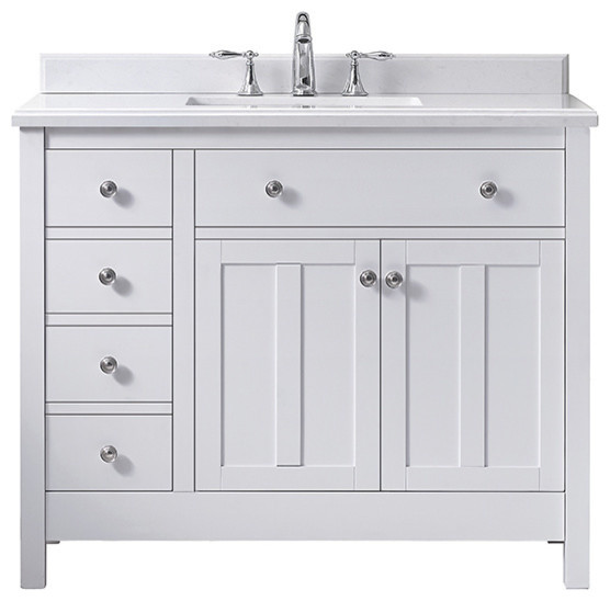 Ove Decors Newcastle 42 Pure White Undermount Single Sink Vanity With Marble Top.