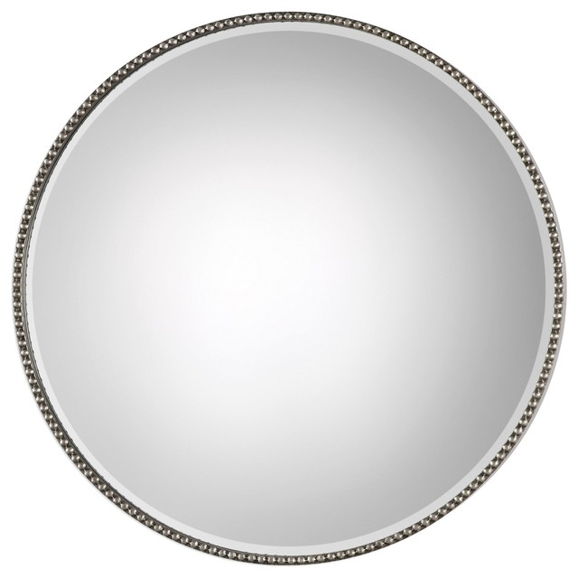 Beaded Round Silver Wall Mirror, Vanity Minimalist Simple. -1
