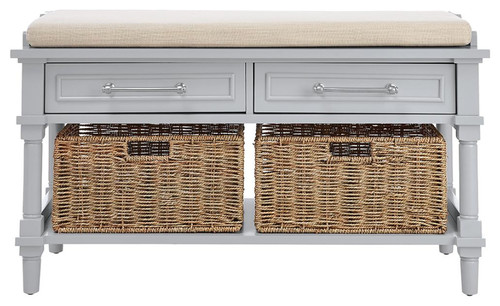 Storage Bench With 2 Rattan Storage, Dove Grey
