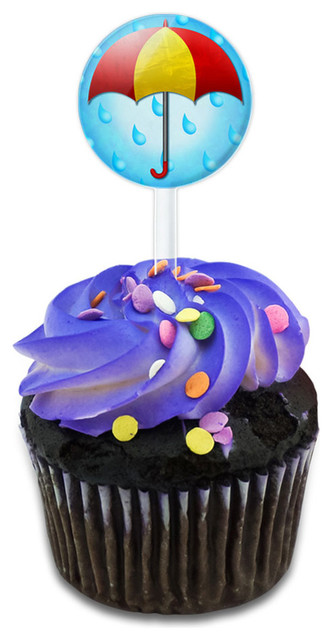 Umbrella In Rain Cupcake Toppers Picks Set.