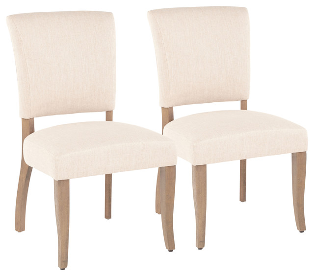 LumiSource Rita Dining Chair, Ash Brown Wooden Legs and Beige, Set of 2