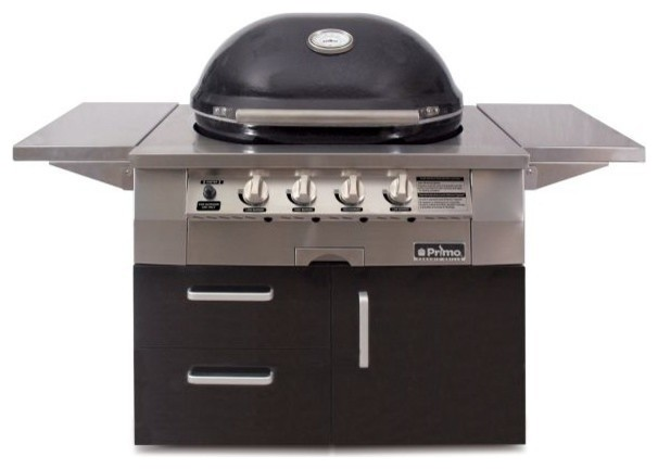 Primo Oval G 420 Ceramic Liquid Propane Grill, Cart With Natural Gas Conversion.