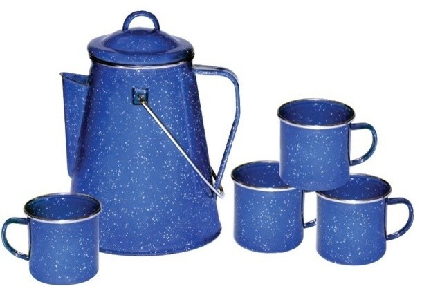 Stansport 11230 Enamel 8 Cup Coffee Pot With Percolator And Four 12 Ounce  Mugs