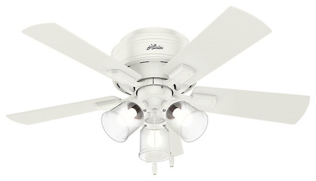 "Crestfield Fresh White Ceiling Fan With Light, 42""."