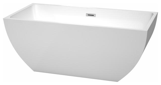 "Rachel Freestanding Bathtub, Polished Chrome, 59"", No Faucet"