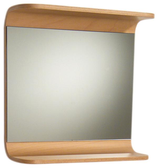 Aeri Rectangular Mirror With Integral Wood Shelf