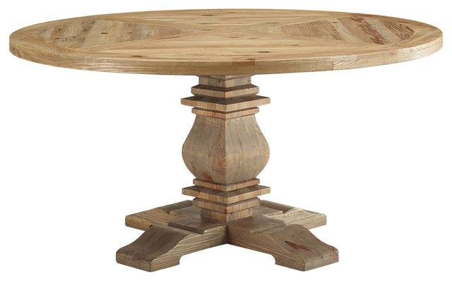 """Column 59"""" Round Pine Wood Dining Table"""