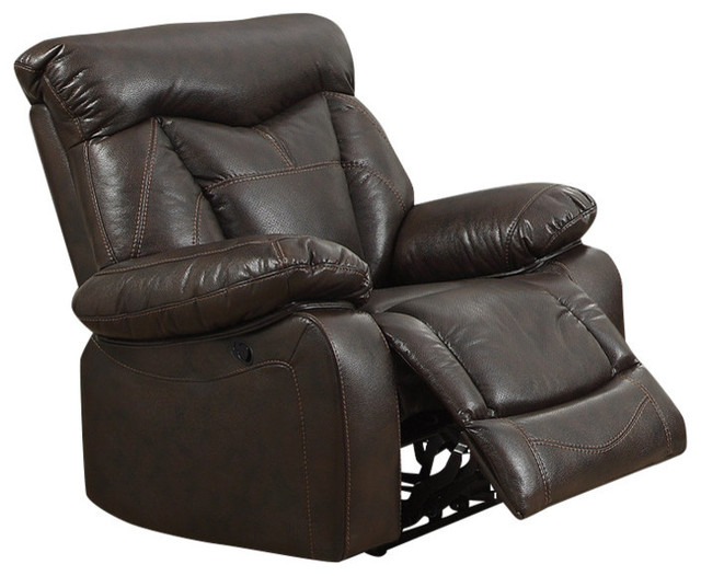 Coaster Recliner, Dark Brown Finish 601713 by Coaster Home Furnishings