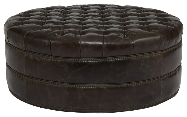 Mad Round Tufted Leather Ottoman