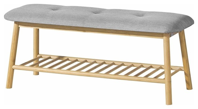 Contemporary Shoe Rack Bench Natural Bamboo Wood With Cushioned