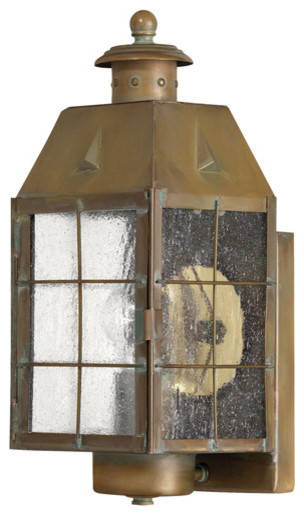 """Wall Sconce 1-Light With Aged Brass Clear Seedy Panels Solid Brass, 14"""""""