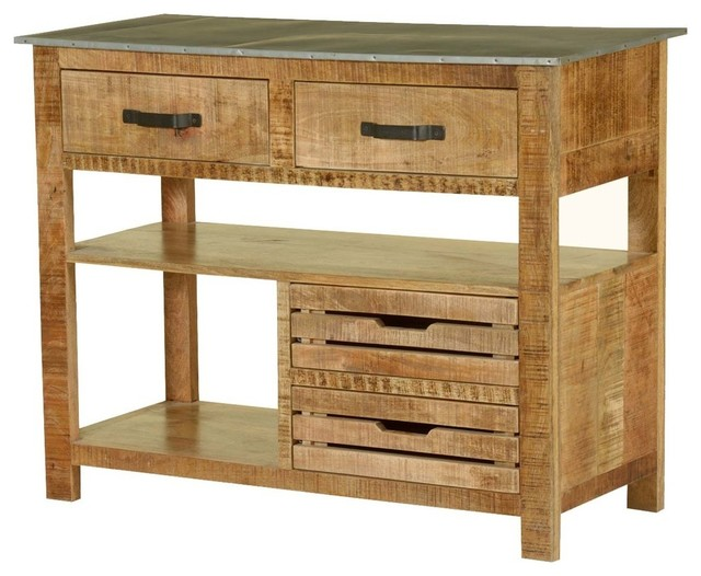 Merveilleux Pioneer Rustic Solid Mango Wood Console Table Work Station
