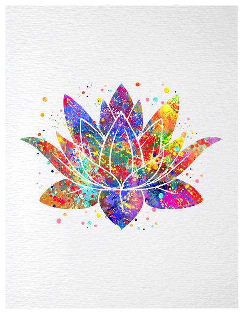 Dignovel Studios Lotus Flower Yoga Symbol Contemporary Watercolor