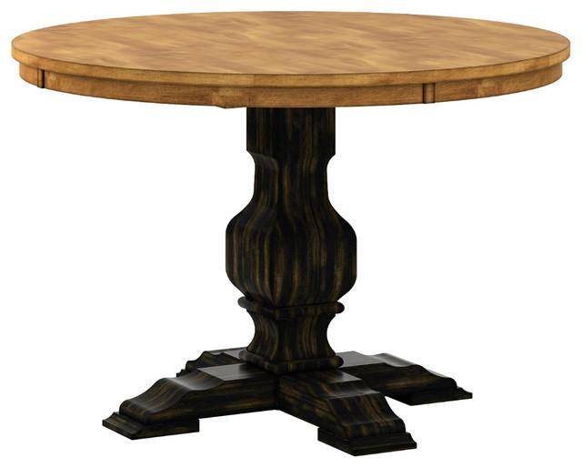 Round Pedestal Dining Table, Antique Black