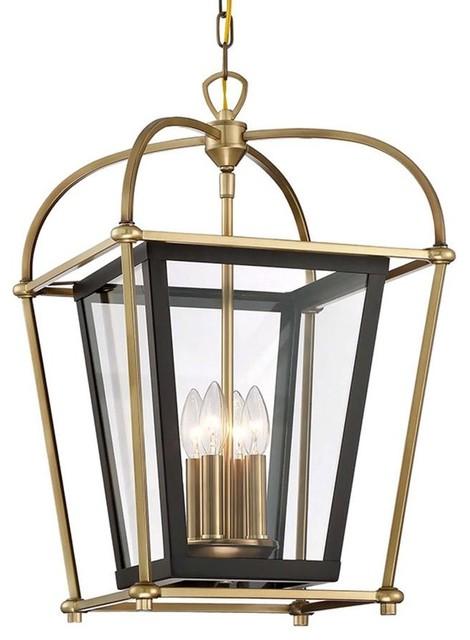 Baron 4 Light Foyer Lantern Chandelier Fixture Aged Br And Matte Black