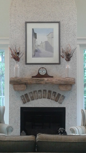 Mantle made with reclaimed wood, fireplace made with tabby stucco ...