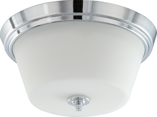 Bento 2 Light Flush Fixture With Satin White Glass Transitional Flush Mount Ceiling