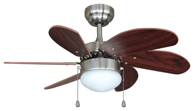 "Satin Nickel 30"" Ceiling Fan With Light Kit Cherry"