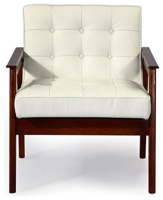 Attractive Mies Midcentury Modern Plank Arm Chair, Italian Leather, White