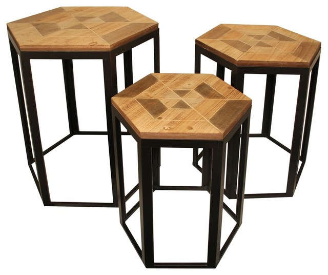 Piece Hexagonal Wood Nesting Table Set Contemporary Side - Hexagon wood coffee table