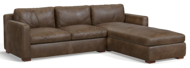 Tribecca Sofa Chaise, Whiskey Leather, Right Hand Facing.