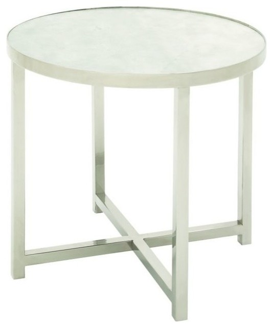 Stainless Steel Marble Accent Table 22 X21 Side Tables