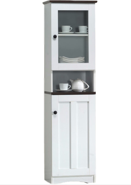 Lauren 2 Tone White And Dark Brown Buffet And Hutch Kitchen Cabinet