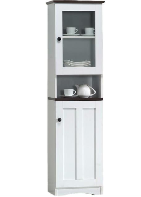 Lauren 2-Tone White and Dark Brown Buffet and Hutch Kitchen Cabinet