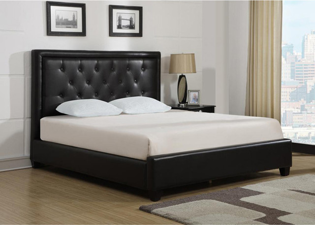 Bonded Leather Wood Slat California King Size Platform Bed