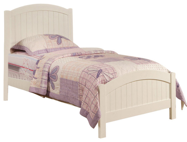 Simple Design Youth Kids Wood Twin Bed With Arched Headboard, White