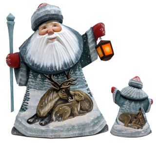 Moose Father Frost Santa Wood Woodcarved Figurine Traditional Holiday Accents And Figurines By G Debrekht
