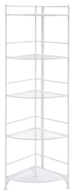 5-Tier Folding Metal Corner Shelf
