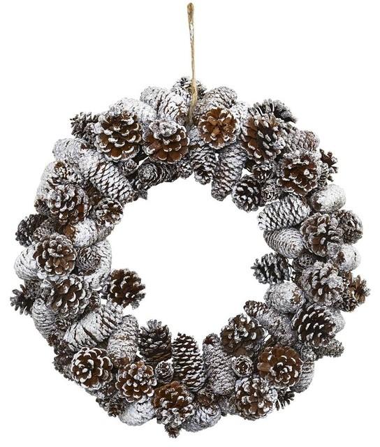 Snowy Pine Cone Wreath.