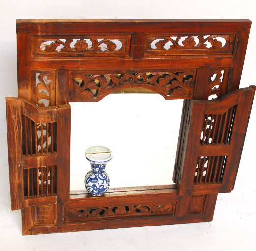 Vintage Balinese Style Teak Window Mirror Amp Reviews Houzz