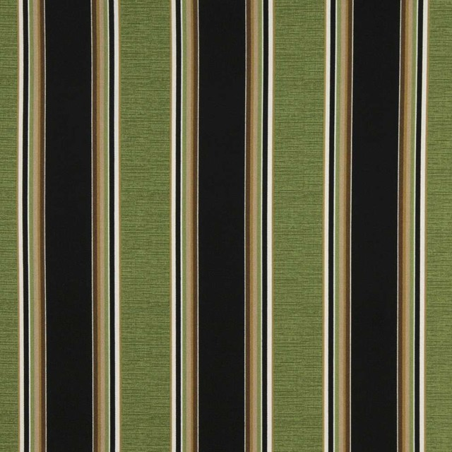 Black Green White And Brown Striped Outdoor Marine Upholstery Fabric