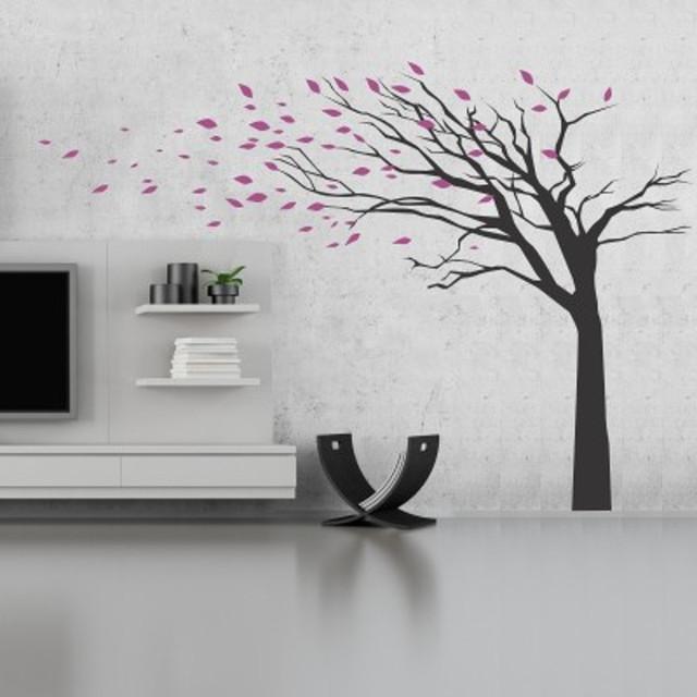 Stickers Murali Design.Adesivi Murali Albero Foglie Al Vento Contemporary