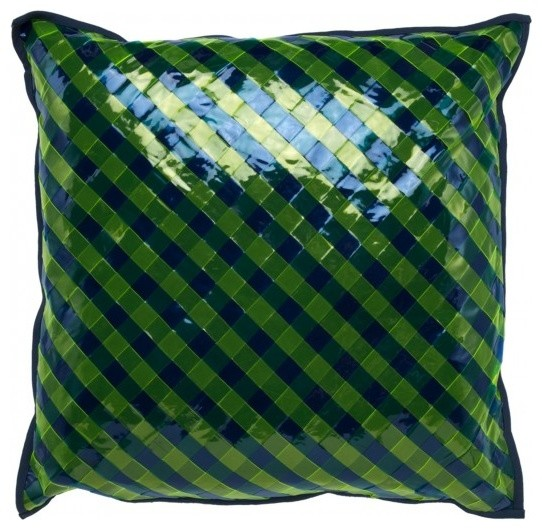 Blue And Green Decorative Throw Pillows : Vinilo Green and Blue Pillow - Contemporary - Decorative Pillows - by LivLuxe Designs
