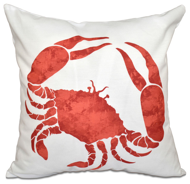 Crab, Animal Print Pillow - Beach Style - Decorative Pillows - by E by Design