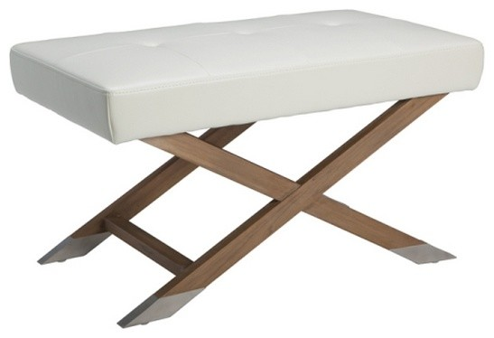 Compact X Base Bench In Bonded Leather Transitional Upholstered Benches By Artefac