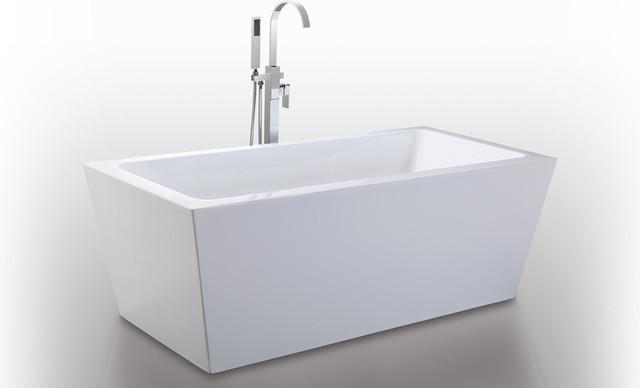 """HelixBath Centaur Freestanding Acrylic Modern Bath Tub 67"""" White"""