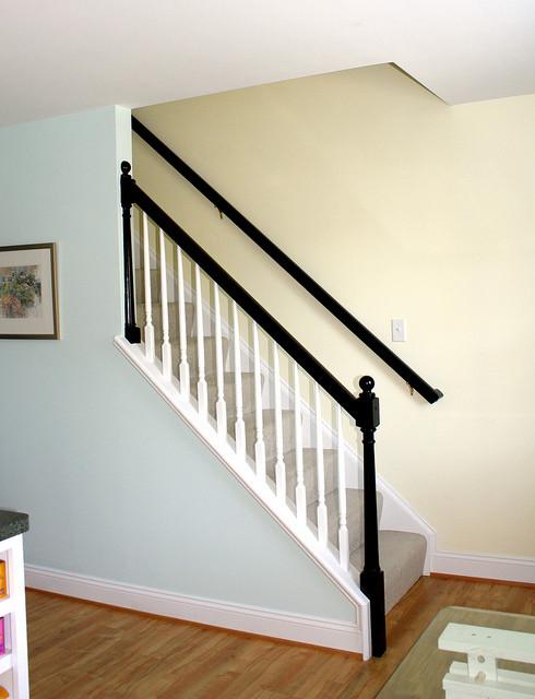 Elegant Black Banister Traditional Staircase