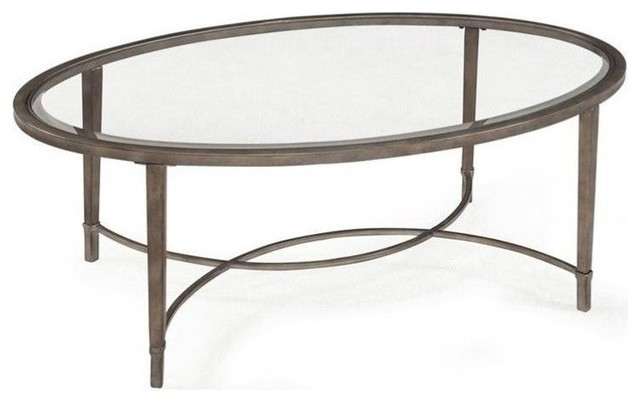 Beaumont Lane Glass Top Coffee Table, Antique Silver.